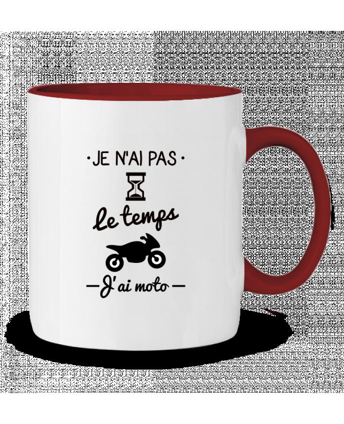 Mug en Céramique Bicolore Pas le temps j'ai moto, motard Benichan