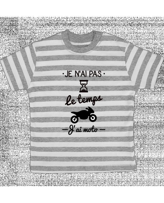 T-shirt Bébé à Rayures Pas le temps j'ai moto, motard par Benichan