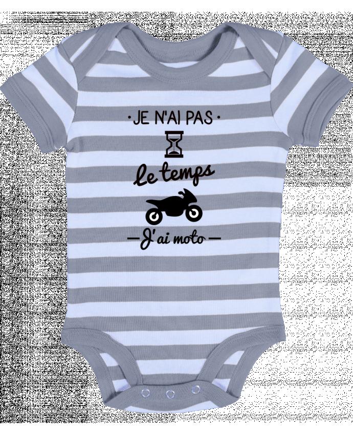 Body Bébé à Rayures Pas le temps j'ai moto, motard - Benichan