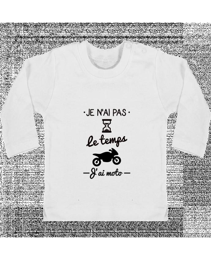 T-shirt Bébé Manches Longues Boutons Pression Pas le temps j'ai moto, motard manches longues du designer Benichan