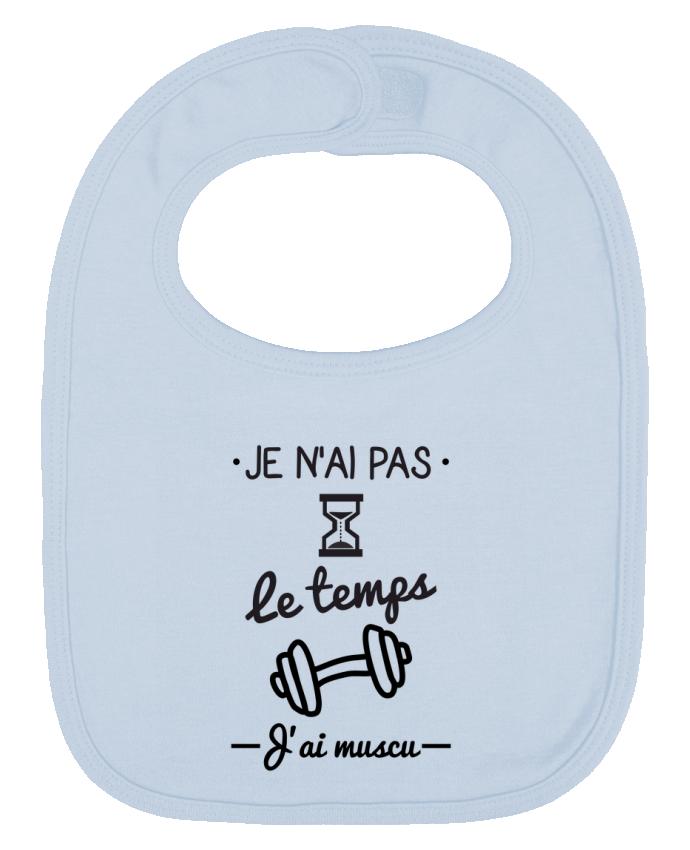Bavoir Uni et Contrasté Pas le temps, j'ai muscu, tee shirt musculation par Benichan