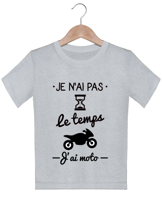 T-shirt garçon motif Pas le temps j'ai moto, motard Benichan