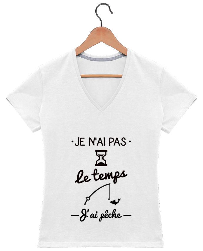 T-shirt Col V Femme 180 gr Pas le temps j'ai pêche par Benichan