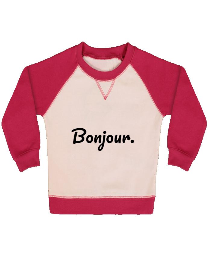 Sweat Shirt Bébé Col Rond Manches Raglan Contrastées Bonjour. par tunetoo