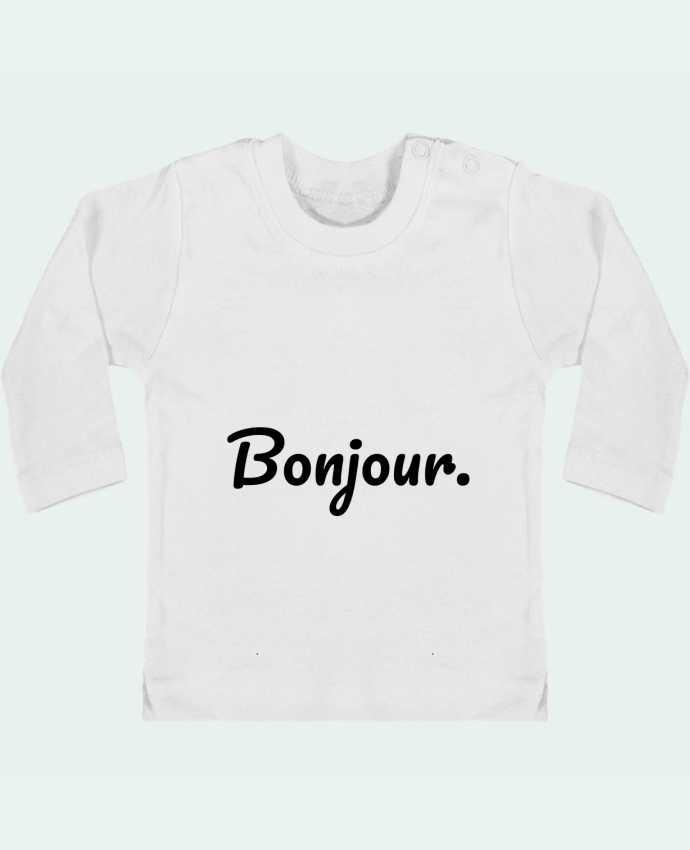 T-shirt Bébé Manches Longues Boutons Pression Bonjour. manches longues du designer tunetoo
