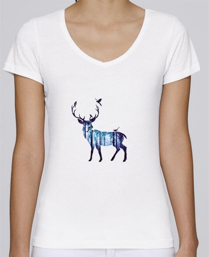 T-shirt Femme Col V Stella Chooses Deer par Likagraphe