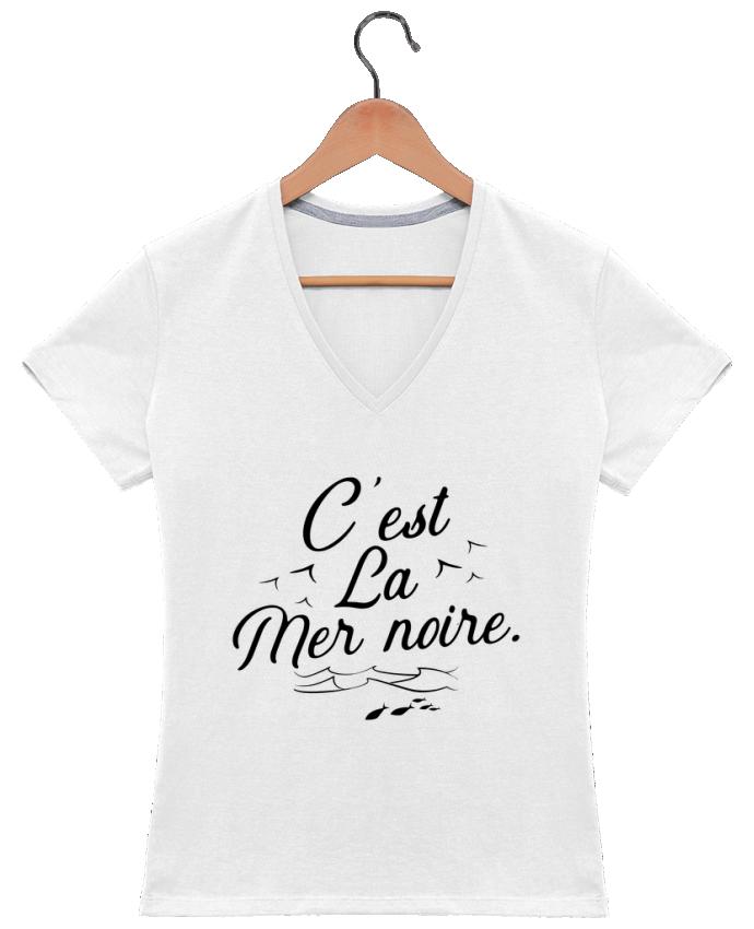 T-shirt Col V Femme 180 gr C'est la mer noire par Original t-shirt