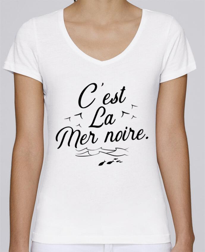 T-shirt Femme Col V Stella Chooses C'est la mer noire par Original t-shirt