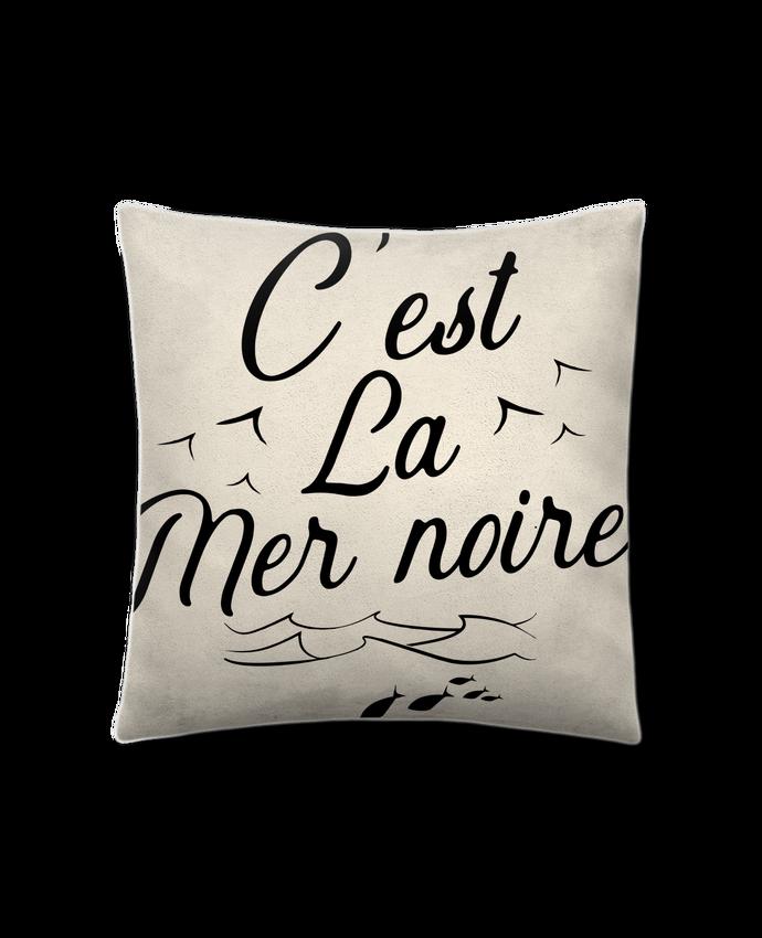 Coussin Toucher Peau de Pêche 41 x 41 cm C'est la mer noire par Original t-shirt