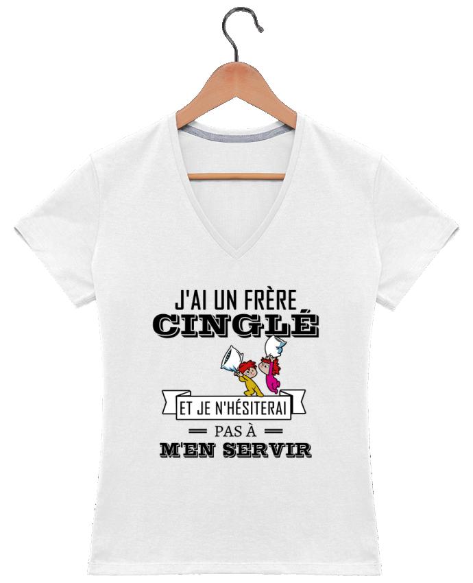 T-shirt Col V Femme 180 gr J'ai un frère cinglé et je n'hésiterai pas à m'en servir par tunetoo
