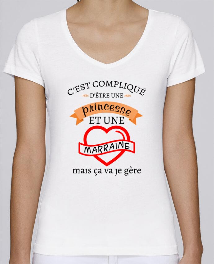 T-shirt Femme Col V Stella Chooses C'est compliqué d'être une princesse et une marraine mais ça va