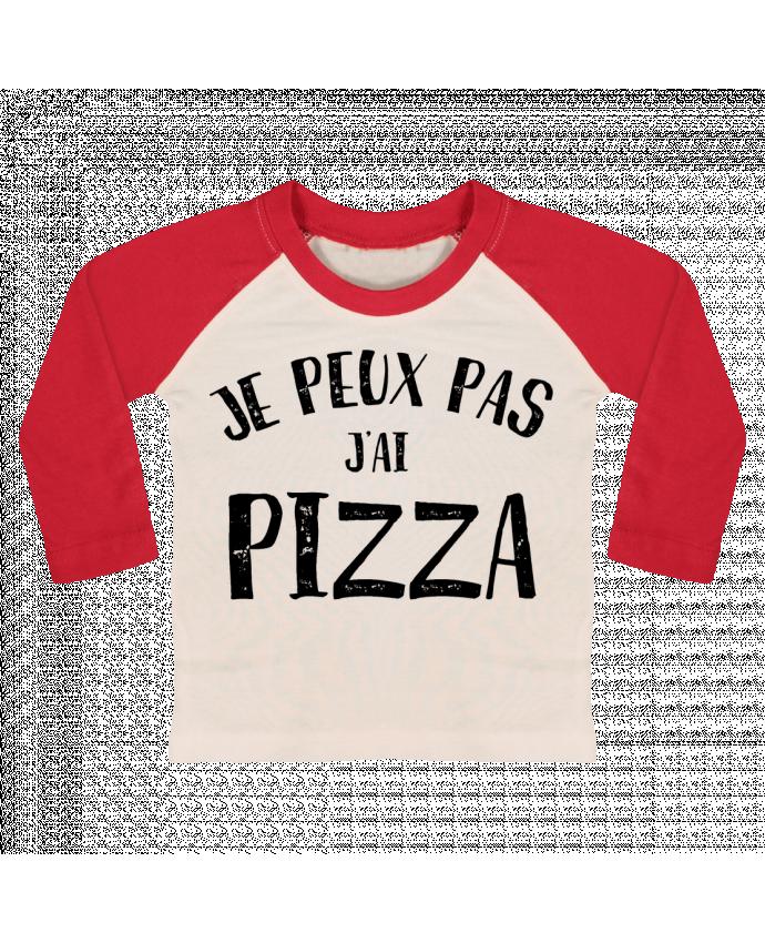 T-shirt Bébé Baseball Manches Longues Je peux pas j'ai Pizza par NumericEric