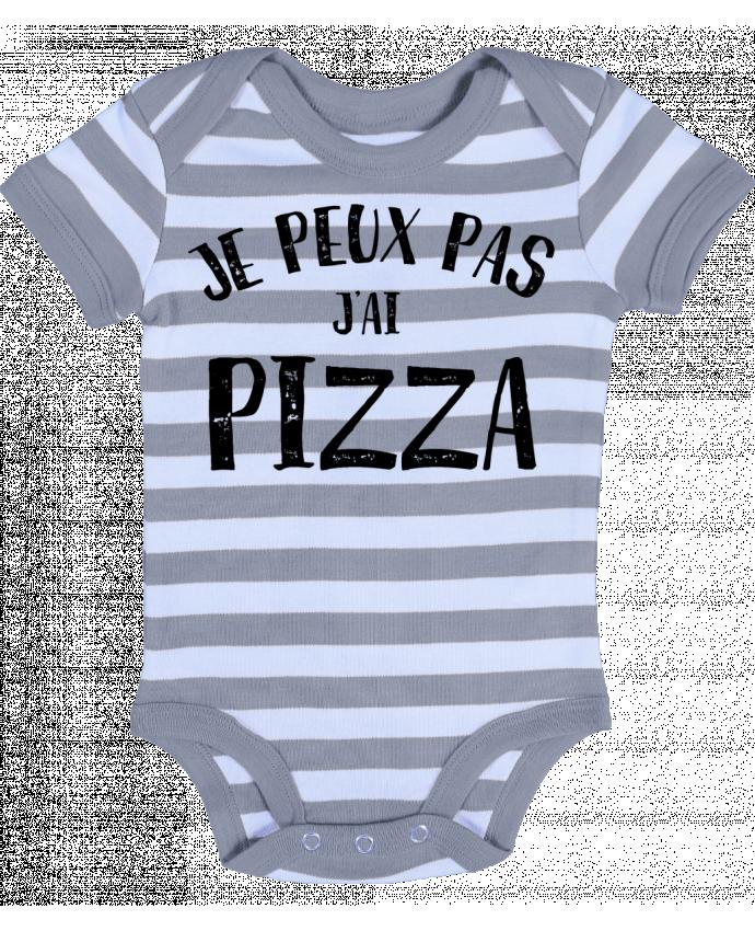 Body Bébé à Rayures Je peux pas j'ai Pizza - NumericEric