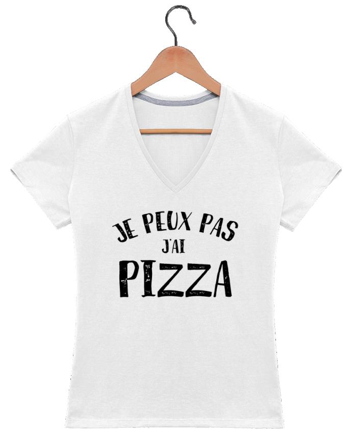 T-shirt Col V Femme 180 gr Je peux pas j'ai Pizza par NumericEric