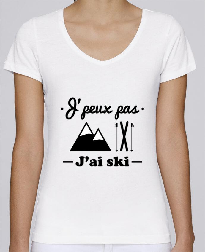 T-shirt Femme Col V Stella Chooses J'peux pas j'ai ski par Benichan