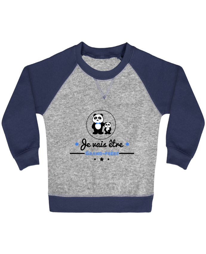 Sweat Shirt Bébé Col Rond Manches Raglan Contrastées Bientôt grand-frère - futur grand frère par Benichan