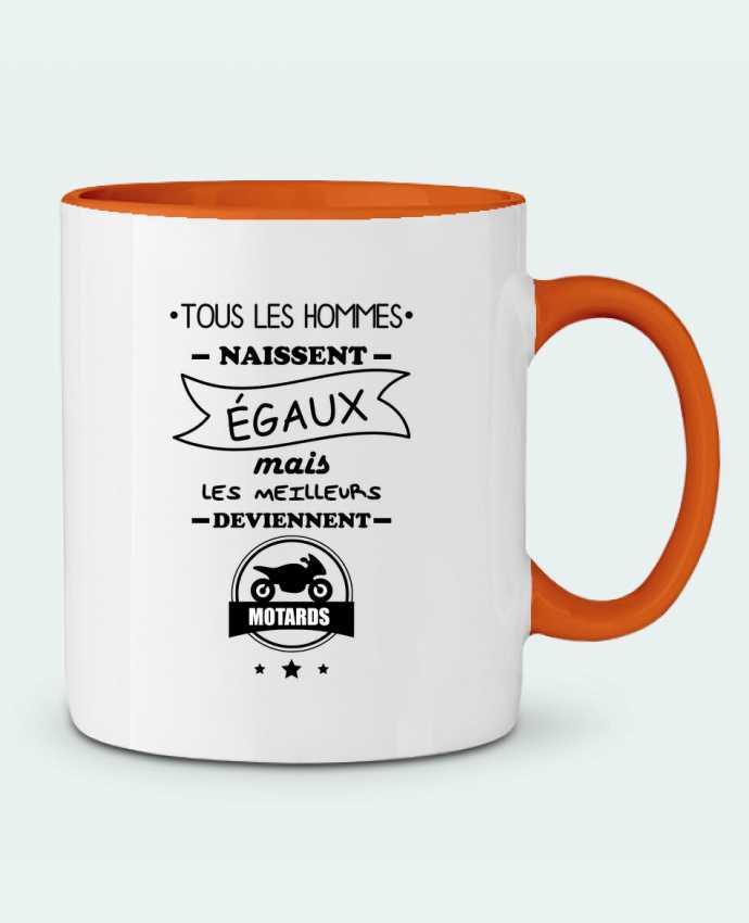 Mug en Céramique Bicolore Tous les hommes ... les meilleurs deviennent motard, moto Benichan