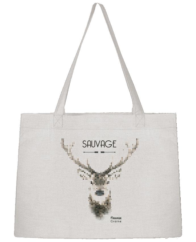 Sac Cabas Shopping Stanley Stella Tête de cerf sauvage par Mauvaise Graine