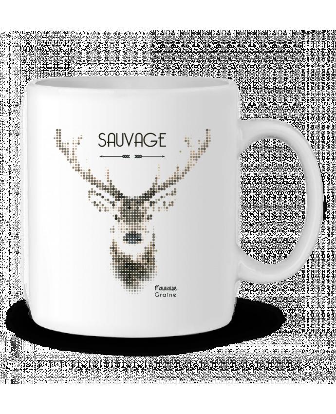 Mug en Céramique Tête de cerf sauvage par Mauvaise Graine
