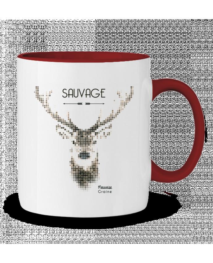 Mug en Céramique Bicolore Tête de cerf sauvage Mauvaise Graine