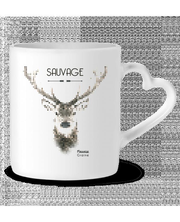 Mug Coeur Tête de cerf sauvage par Mauvaise Graine