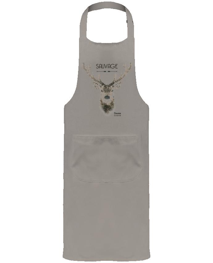 Tablier de Jardinier ou Sommelier avec Poche Tête de cerf sauvage par Mauvaise Graine