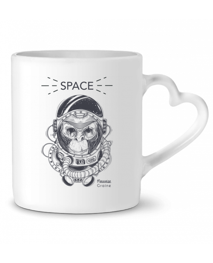 Mug Coeur Monkey space par Mauvaise Graine