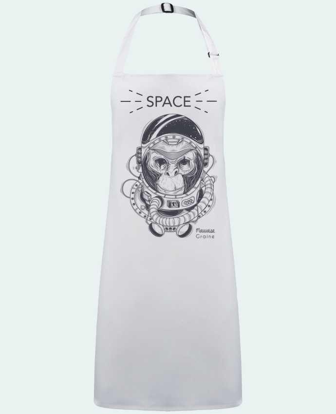 Tablier Sans Poche Monkey space par  Mauvaise Graine