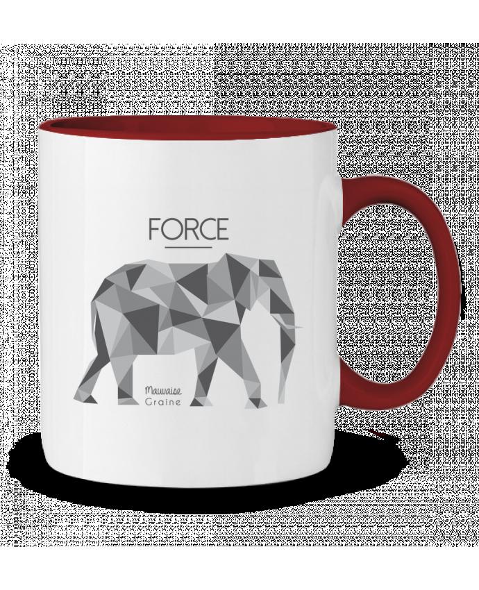Mug en Céramique Bicolore Force elephant origami Mauvaise Graine