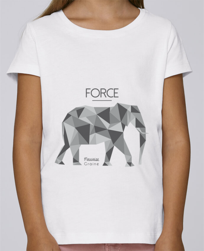 T-shirt Fille Mini Stella Draws Force elephant origami par Mauvaise Graine