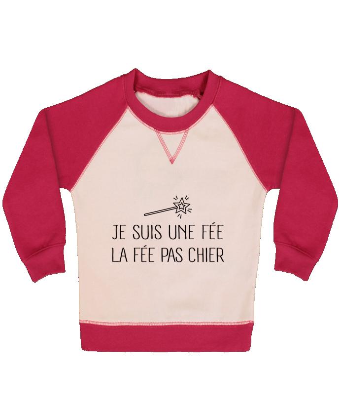 Sweat Shirt Bébé Col Rond Manches Raglan Contrastées Je suis une fée la fée pas chier par Freeyourshirt.com