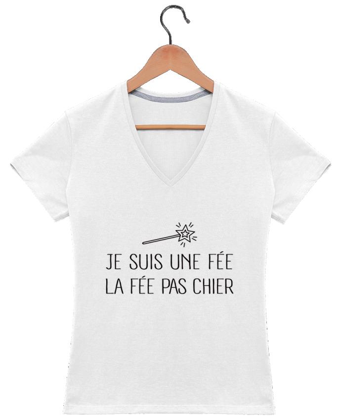 T-shirt Col V Femme 180 gr Je suis une fée la fée pas chier par Freeyourshirt.com