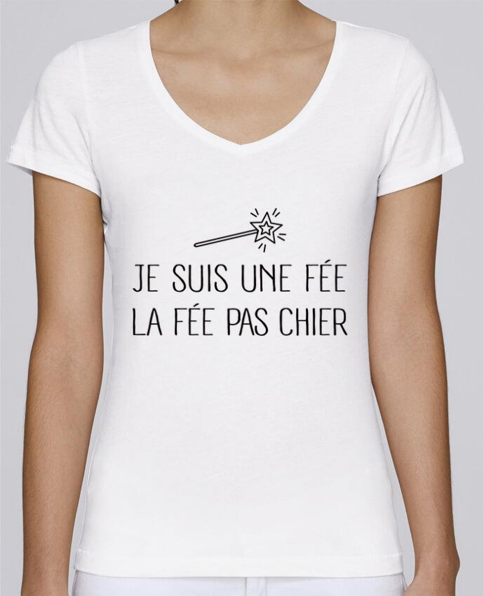 T-shirt Femme Col V Stella Chooses Je suis une fée la fée pas chier par Freeyourshirt.com