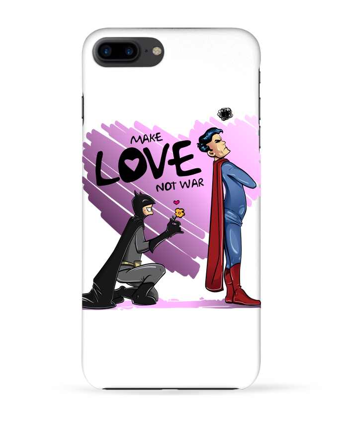 Coque 3D Iphone 7+ MAKE LOVE NOT WAR (BATMAN VS SUPERMAN) par teeshirt-design.com