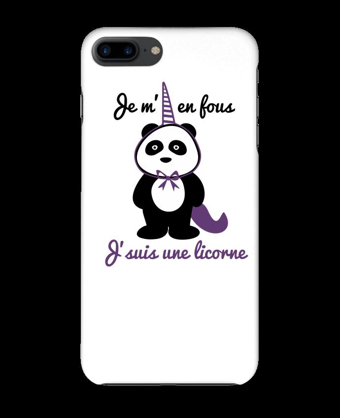 Coque 3D Iphone 7+ Je m'en fous j'suis une licorne, panda par Benichan