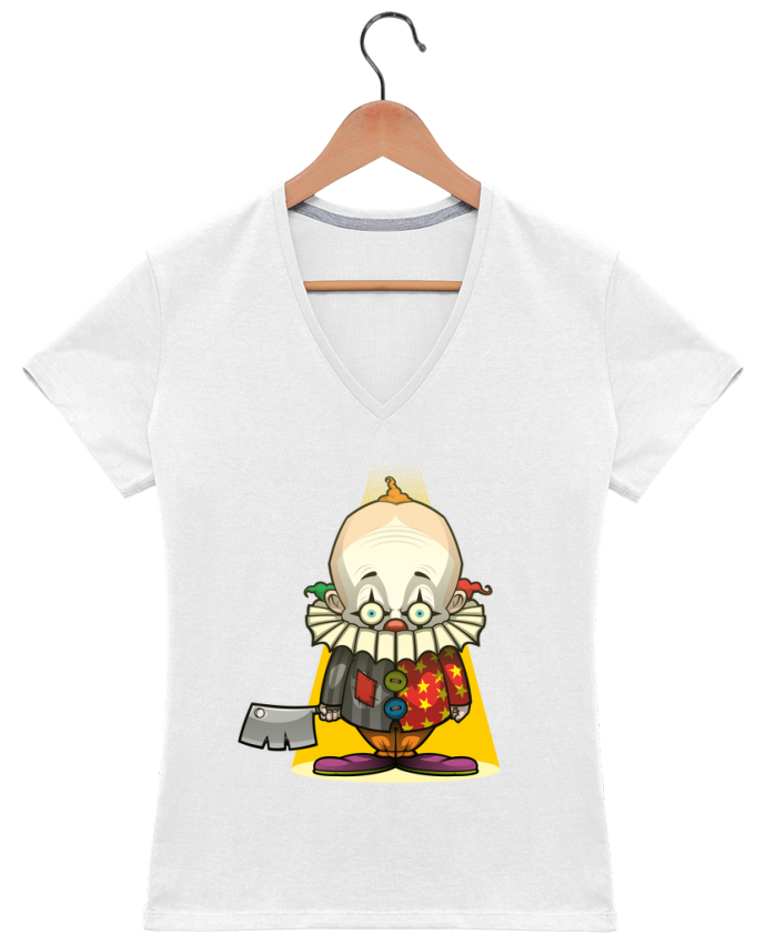 T-shirt Col V Femme 180 gr Choppy Clown par SirCostas