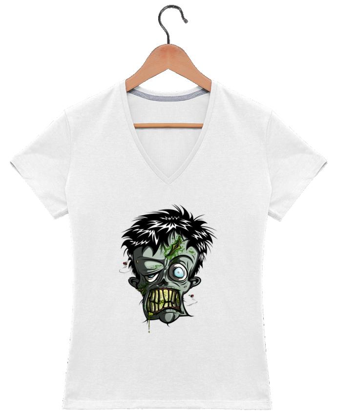 T-shirt Col V Femme 180 gr Toxic Zombie par SirCostas