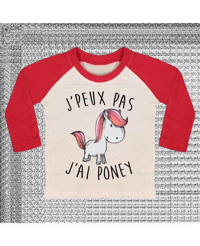 T-shirt Bébé Baseball Manches Longues Je peux pas j'ai poney par FRENCHUP-MAYO