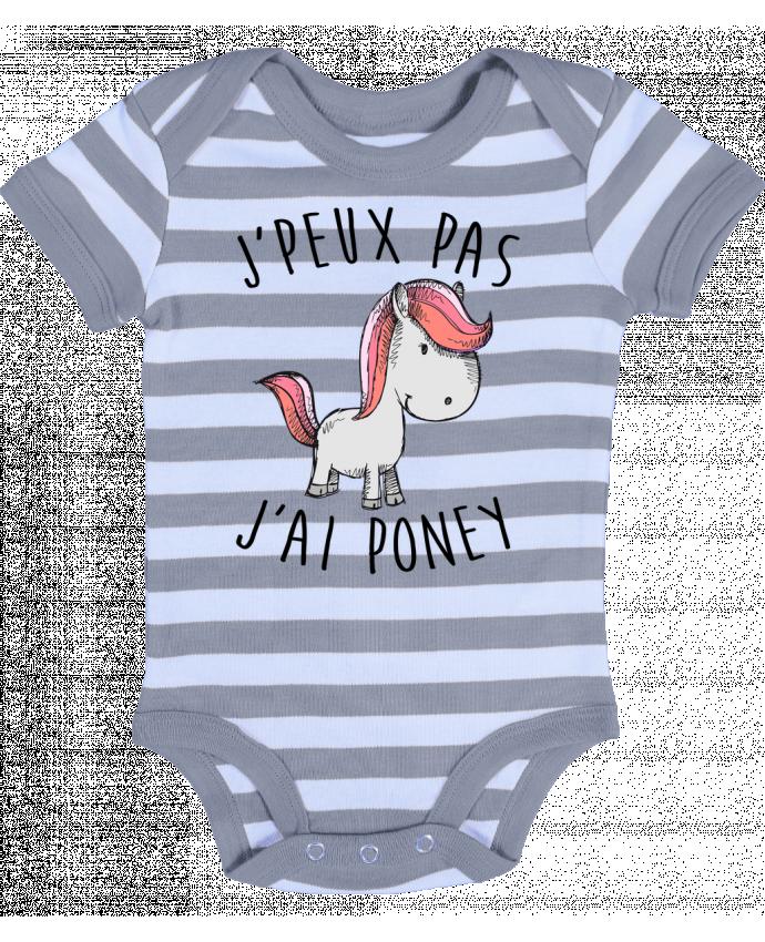 Body Bébé à Rayures Je peux pas j'ai poney - FRENCHUP-MAYO