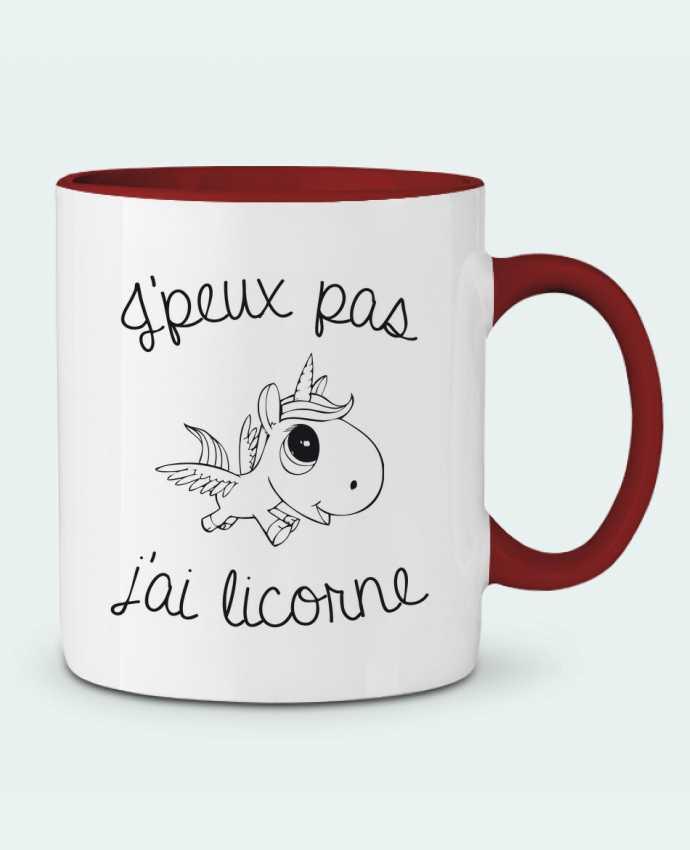 Mug en Céramique Bicolore Je peux pas j'ai licorne FRENCHUP-MAYO