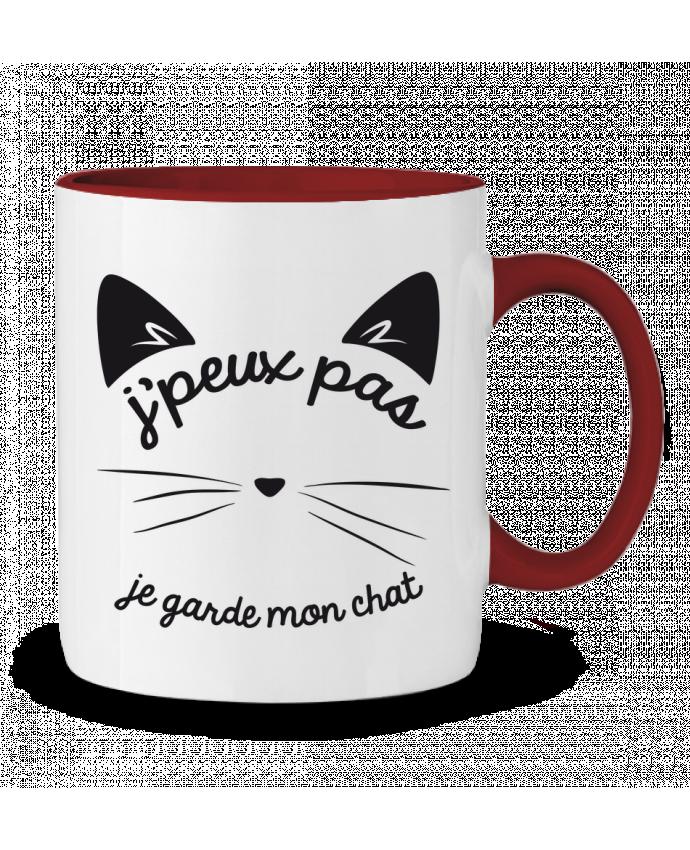 Mug en Céramique Bicolore Je peux pas je garde mon chat FRENCHUP-MAYO