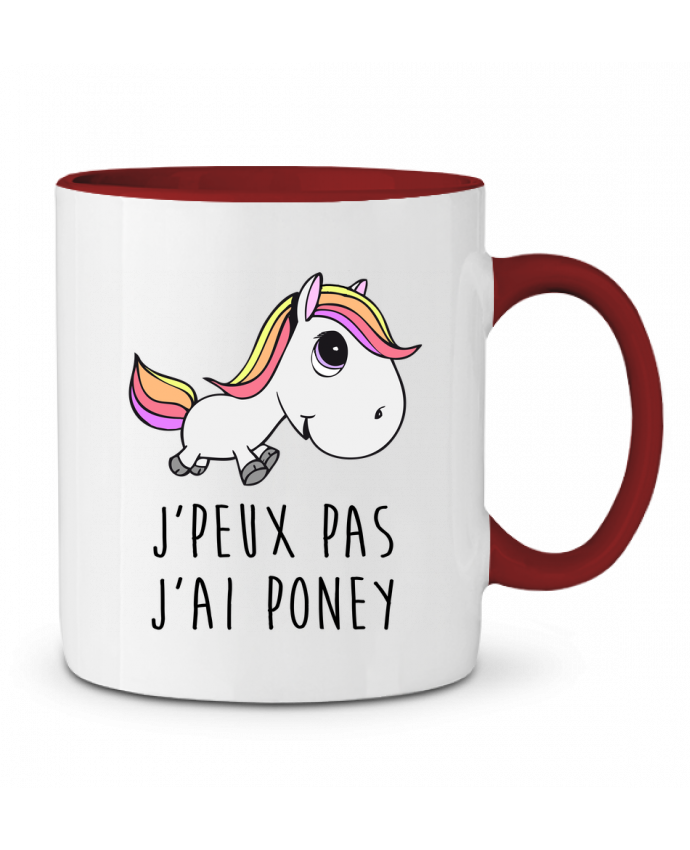 Mug en Céramique Bicolore Je peux pas j'ai poney FRENCHUP-MAYO