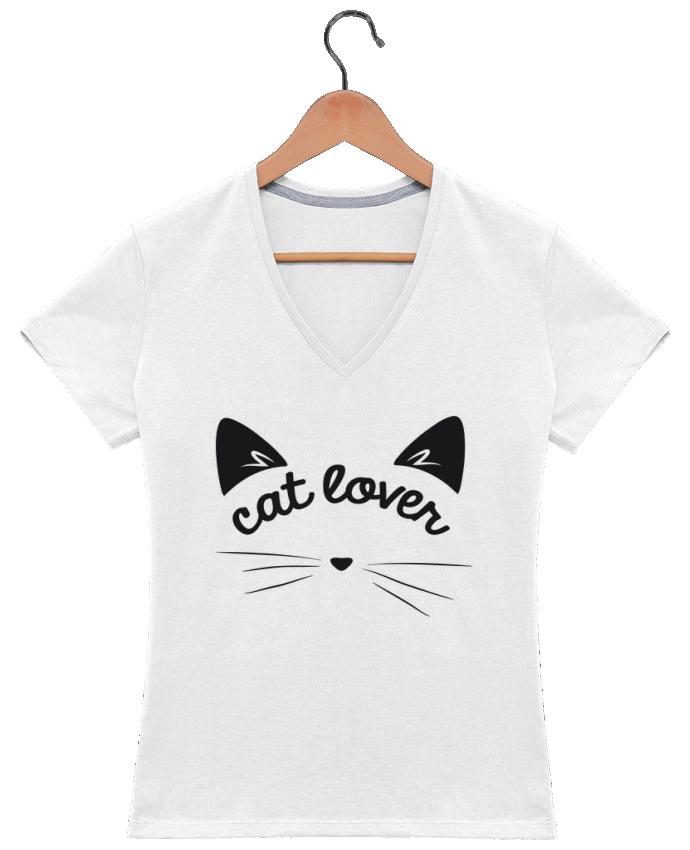 T-shirt Col V Femme 180 gr Cat lover par FRENCHUP-MAYO