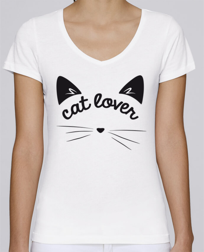 T-shirt Femme Col V Stella Chooses Cat lover par FRENCHUP-MAYO