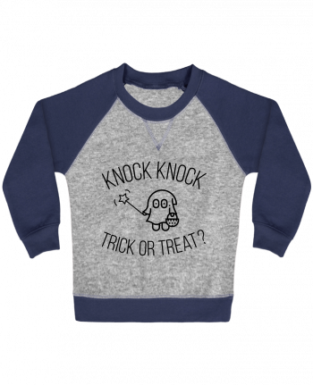 Sweat Shirt Bébé Col Rond Manches Raglan Contrastées Knock Knock, Trick or Treat? par tunetoo