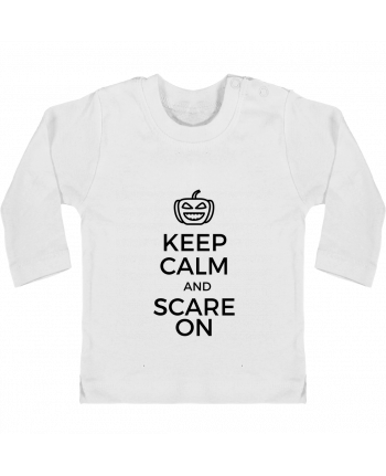 T-shirt Bébé Manches Longues Boutons Pression Keep Calm and Scare on Pumpkin manches longues du designer tunetoo