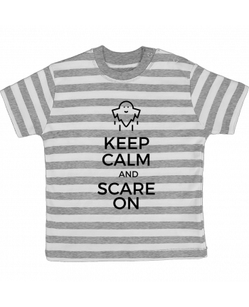 T-shirt Bébé à Rayures Keep Calm and Scare on Ghost par tunetoo