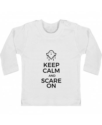 T-shirt Bébé Manches Longues Boutons Pression Keep Calm and Scare on Ghost manches longues du designer tunetoo
