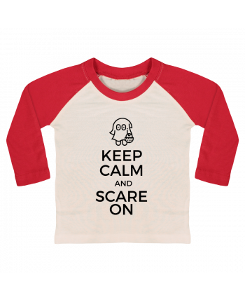 T-shirt Bébé Baseball Manches Longues Keep Calm and Scare on little Ghost par tunetoo
