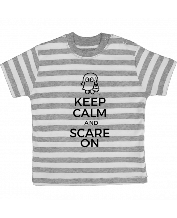 T-shirt Bébé à Rayures Keep Calm and Scare on little Ghost par tunetoo